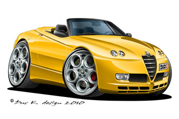 alfa romeo spider cartoon car