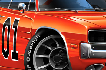 Challenger General Lee cartoon car