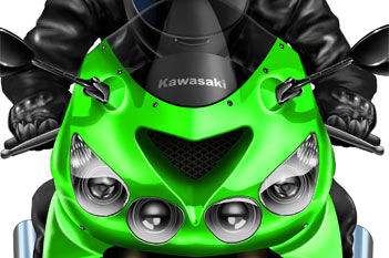 Kawasaki ZZR1400 cartoon bike