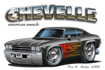 Cartoon Drawing Muscle Sports Car Ready To Find Any Muscle